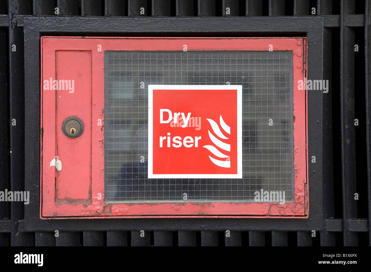 red dry riser sign in london uk Stock Photo