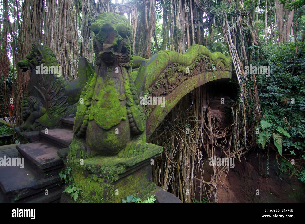 Bridge across ravine into the bathing temple Sacred Monkey Forest Ubud Bali Indonesia No PR - Stock Image