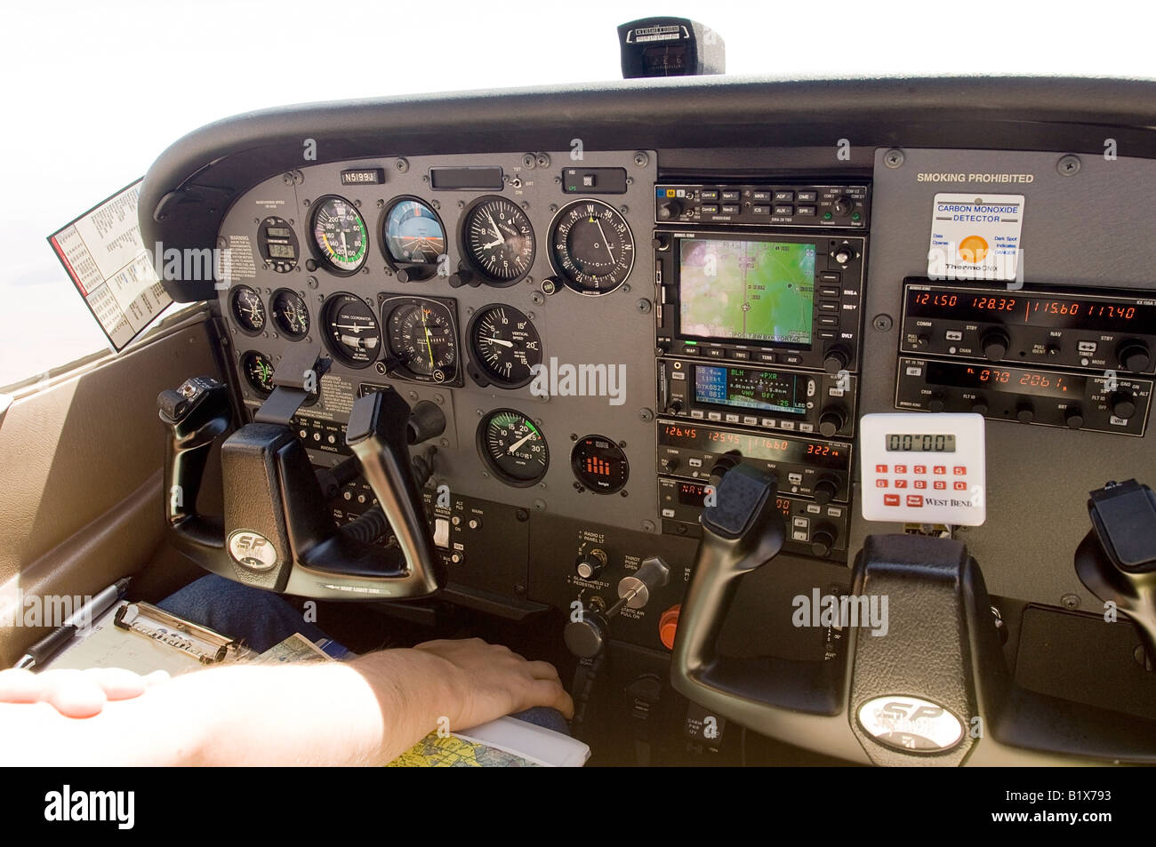 Interior of a modern Cessna 172 airplane with GPS and autopilot - Stock Image