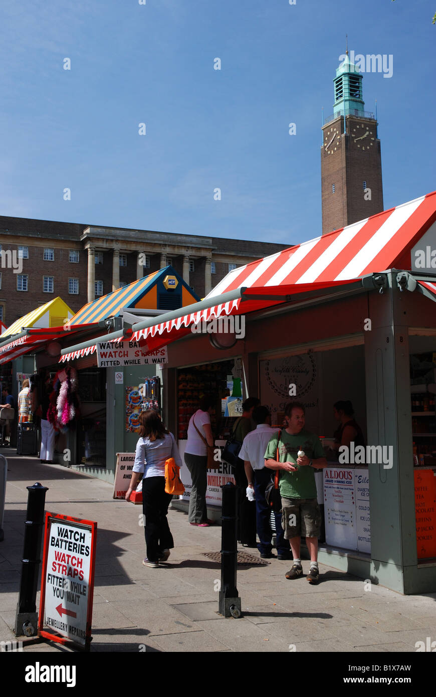 Norwich Market and City Hall, Norfolk - Stock Image