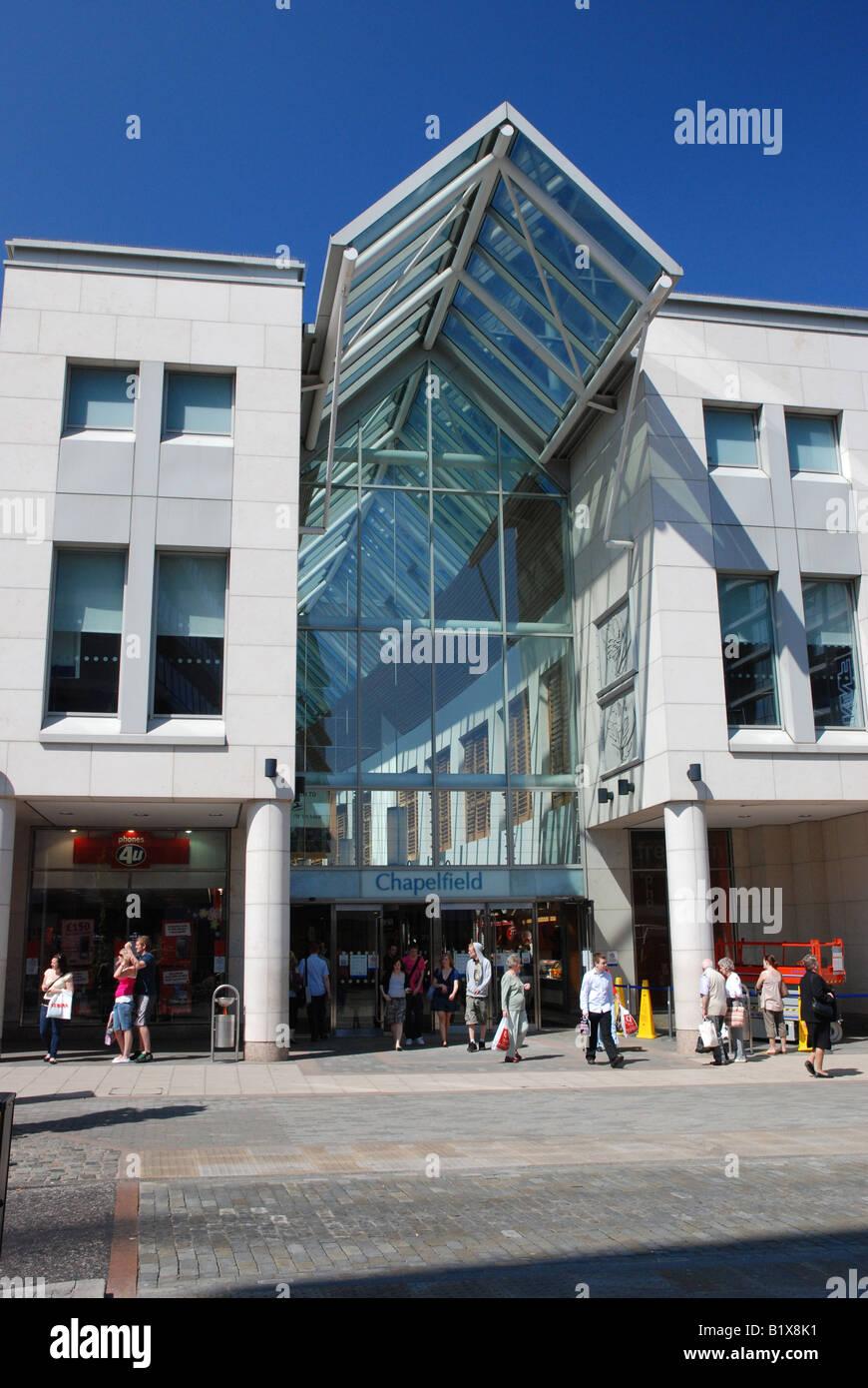 Entrance to Chapelfield Mall, Norwich, Norfolk - Stock Image