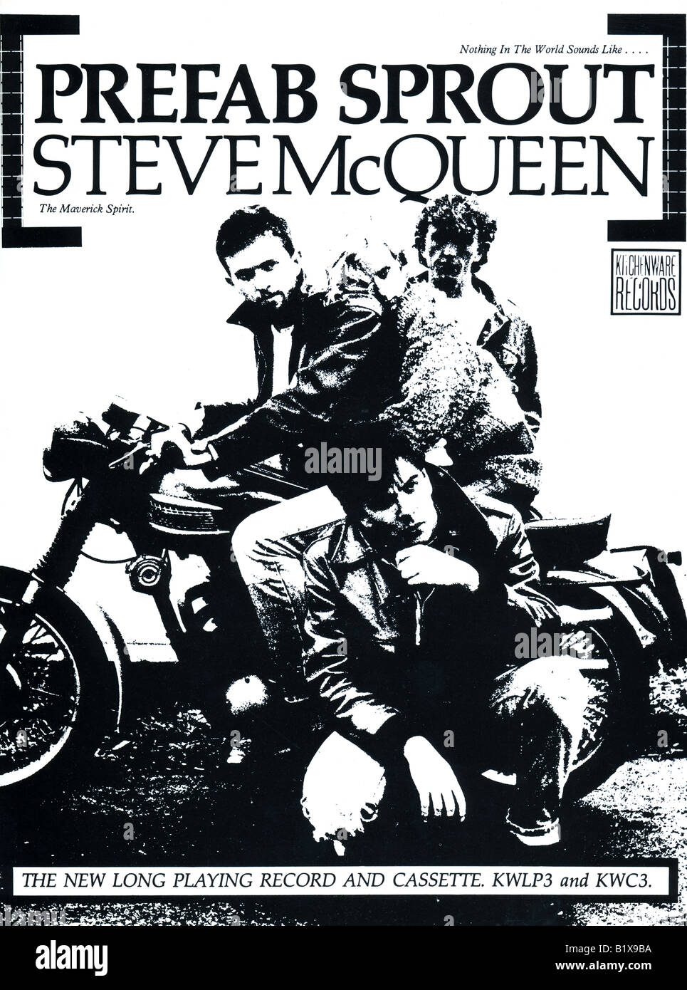 1980s 1985 advertisement from Kitchenware Records new album Steve McQueen by Prefab Sprout FOR EDITORIAL USE ONLY - Stock Image