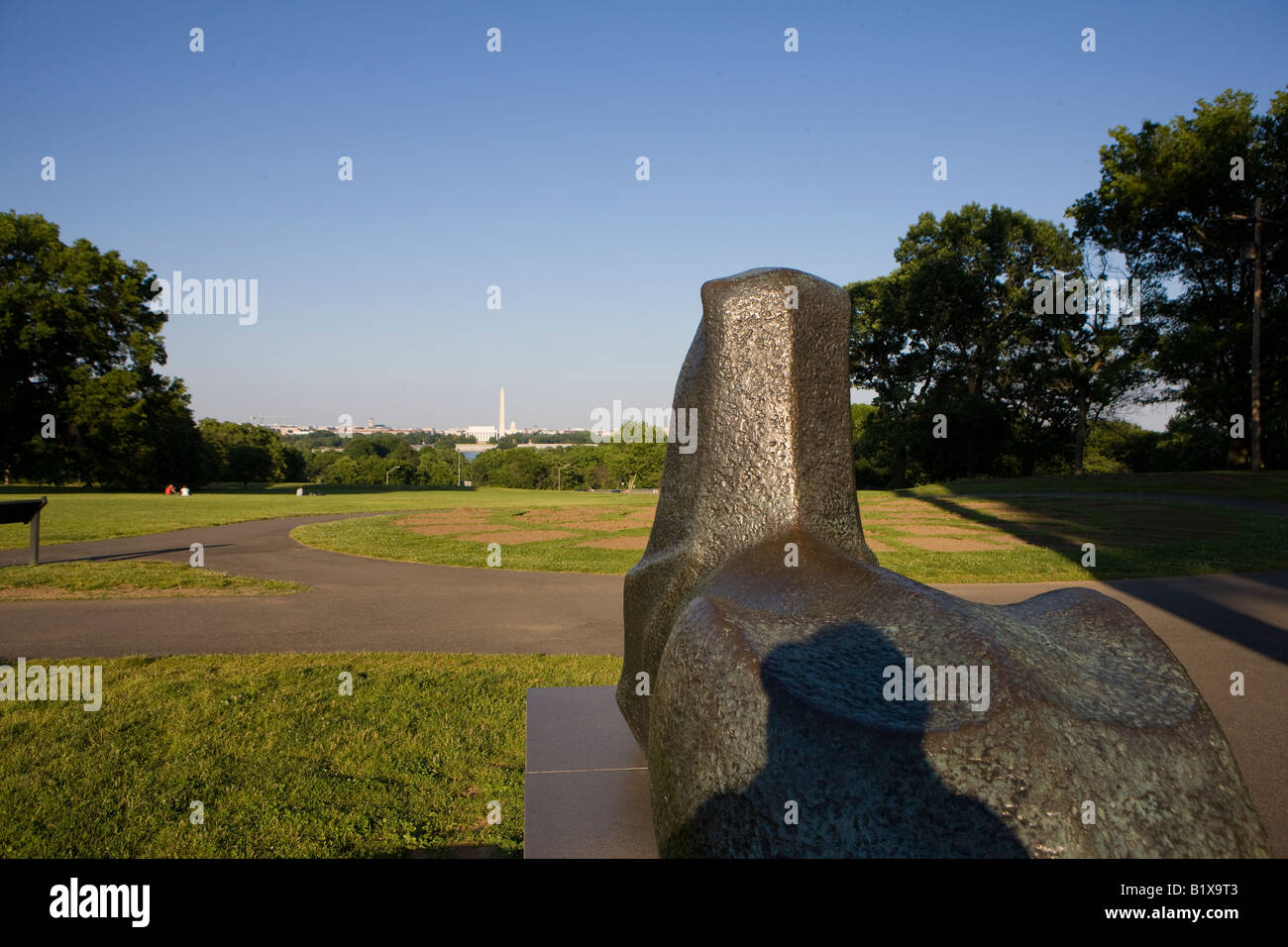 A brozen lion looks out to Washington DC from the base of the Netherlands Carillon. Stock Photo