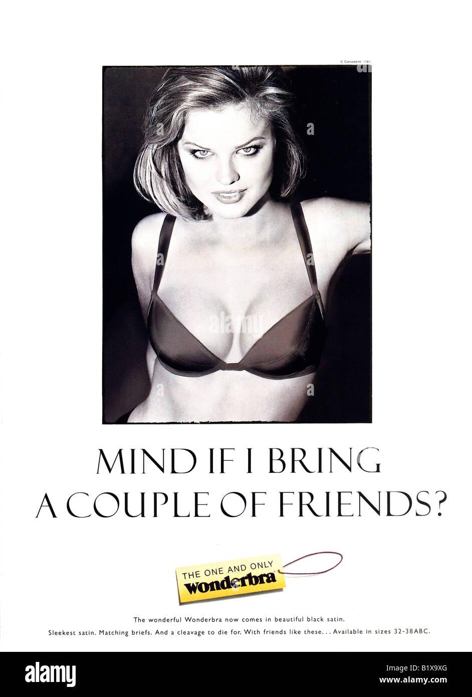 1990s 1994 Iconic Wonderbra Advertisement featuring Eva Herzigova For Editorial Use Only - Stock Image