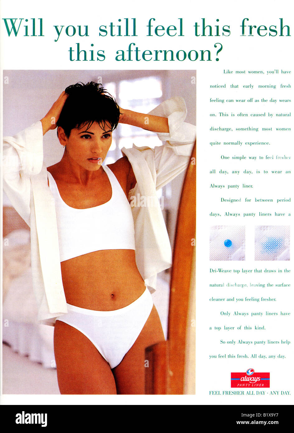 1990s Advertisement for Always Panty Liners 1994 For Editorial Use Only Stock Photo