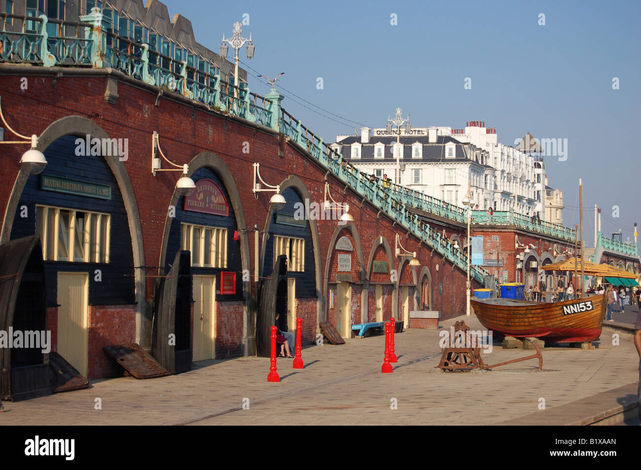 Brighton sea front and shops, East Sussex, England - Stock Image