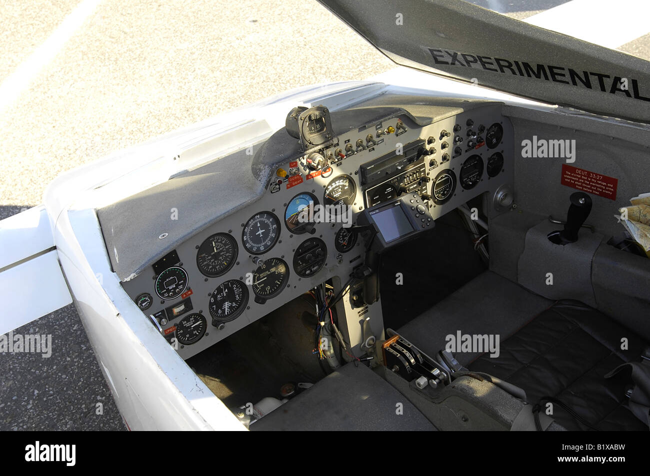 Interior cockpit of an experimental category aircraft commonly called a homebuilt aircraft. - Stock Image