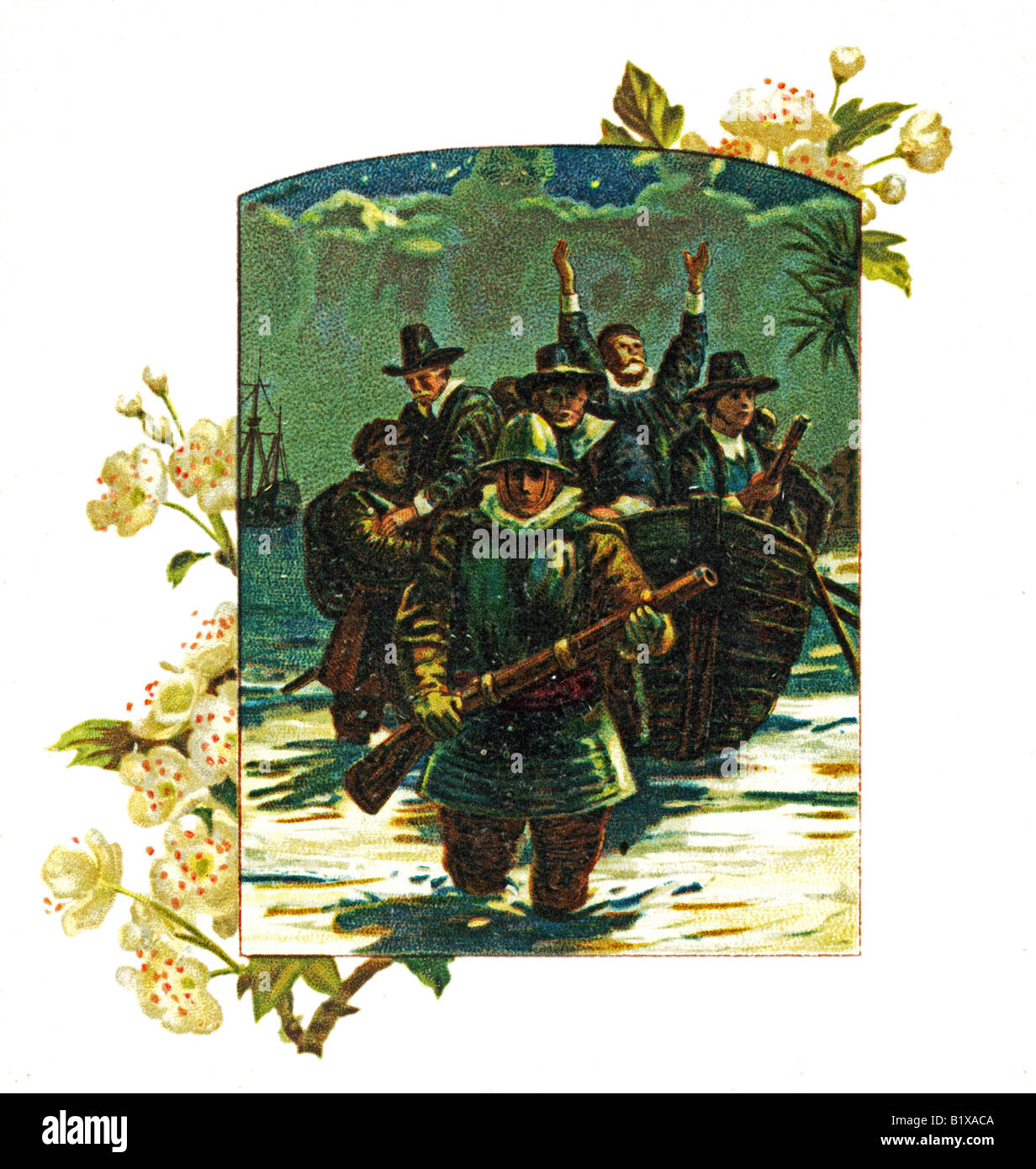 Illustration from The Landing of the Pilgrim Fathers a Victorian illustrated poetry book  FOR EDITORIAL USE ONLY - Stock Image