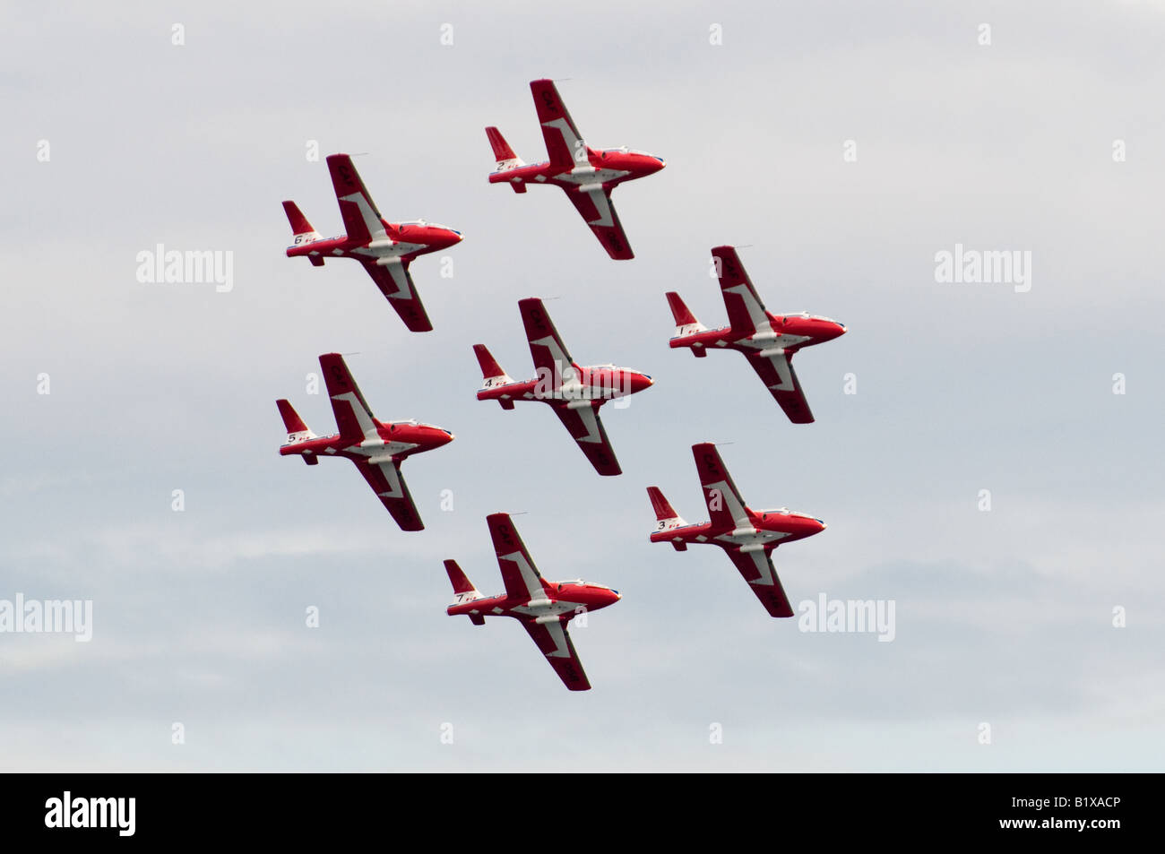 The Snowbirds, Canada's extreme aerobatic team, perform precise maneuvers together in the sky. Stock Photo