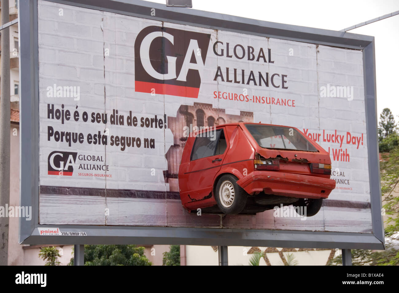Funny Advertisement Board Of An Insurance Company Depicting A Real