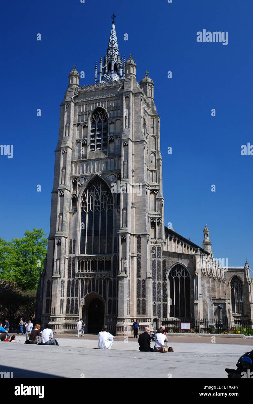 St Peter Mancroft Church and Millenium Plain, Norwich, Norfolk - Stock Image