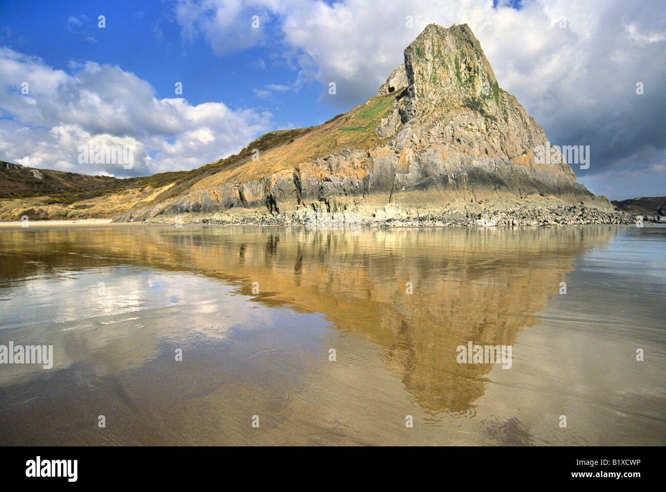Eastwards view of Tor Bay and Great Tor towards Three Cliffs Bay Gower west Wales - Stock Image
