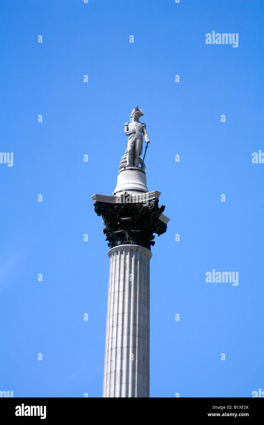 Nelsons Column in Trafalgar Square London - Stock Image