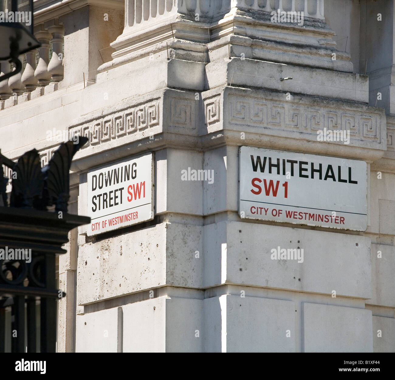 Street signs of famous Downing Street and Whitehall in London - Stock Image