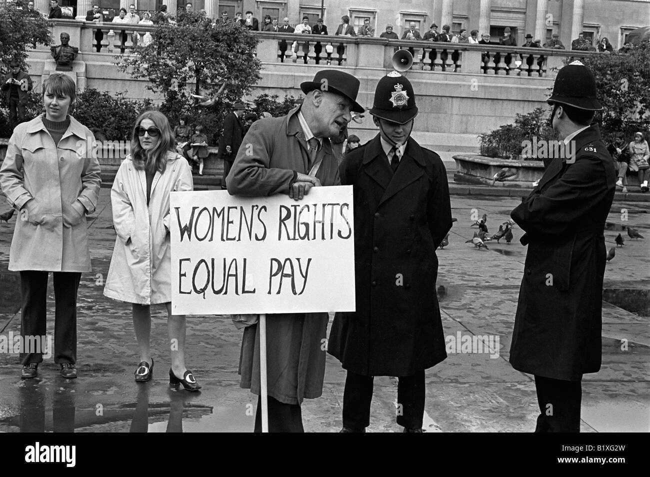 Women Rights for Equal Pay for Women, Rally, Trafalgar Square central London England 1968 1960s UK HOMER SYKES Stock Photo
