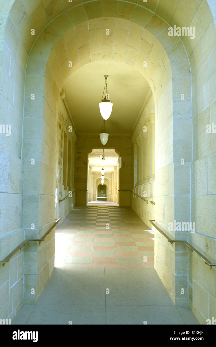 Stanford University thick stone walls of hallway - Stock Image
