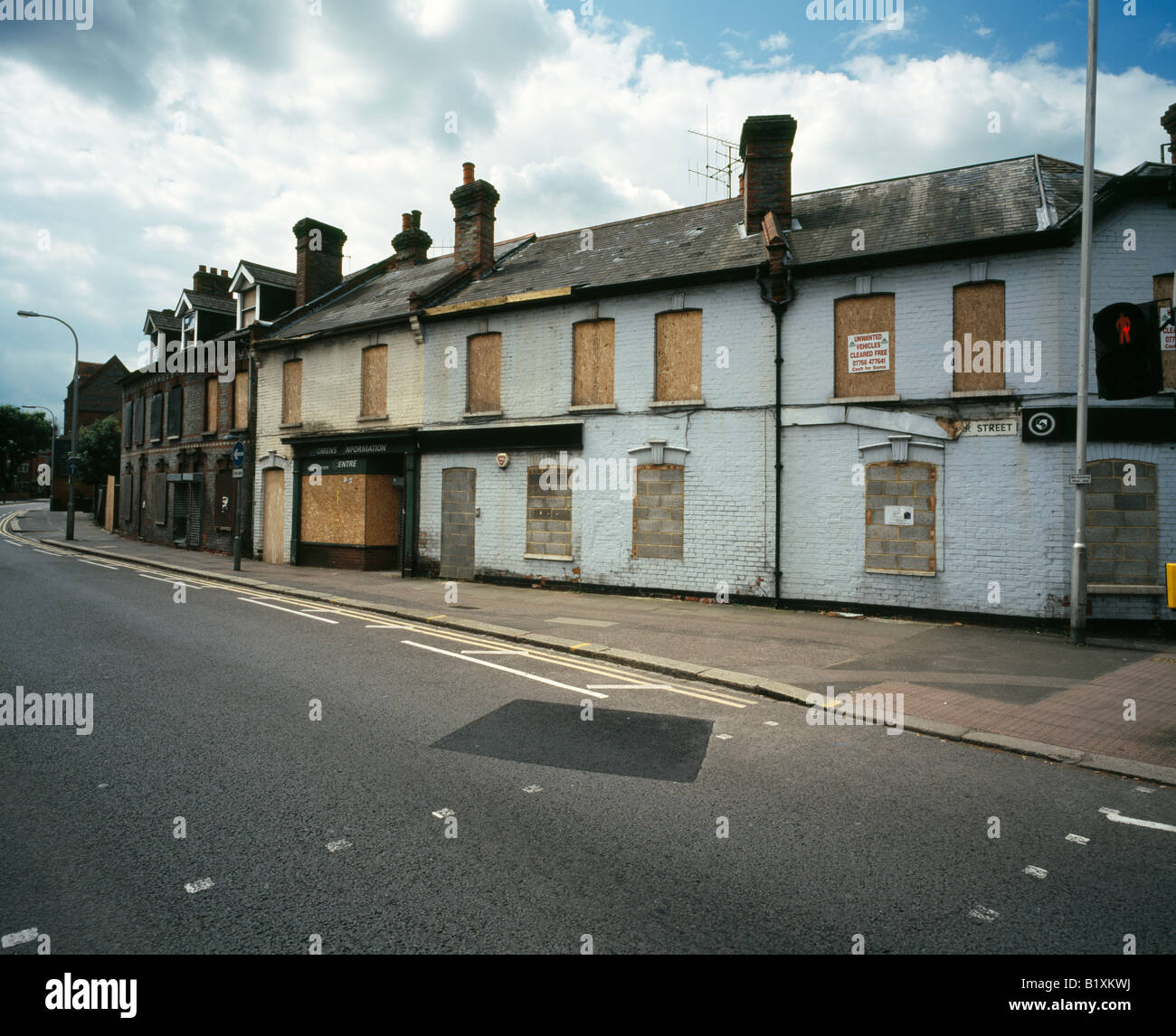 Derelict houses in Silver Street, Reading city, Berkshire, England, UK. - Stock Image
