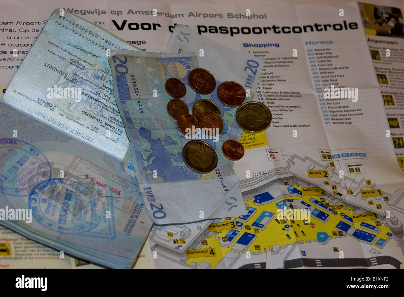 Shiphol Airport Map Trip passport map of the airport of Shiphol and some Euros ready