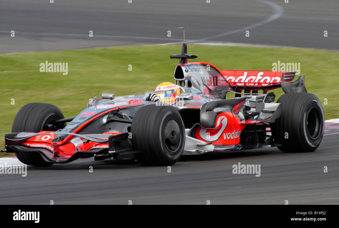 lewis hamilton in the vodafone mclaren mercedes f1 racing car at