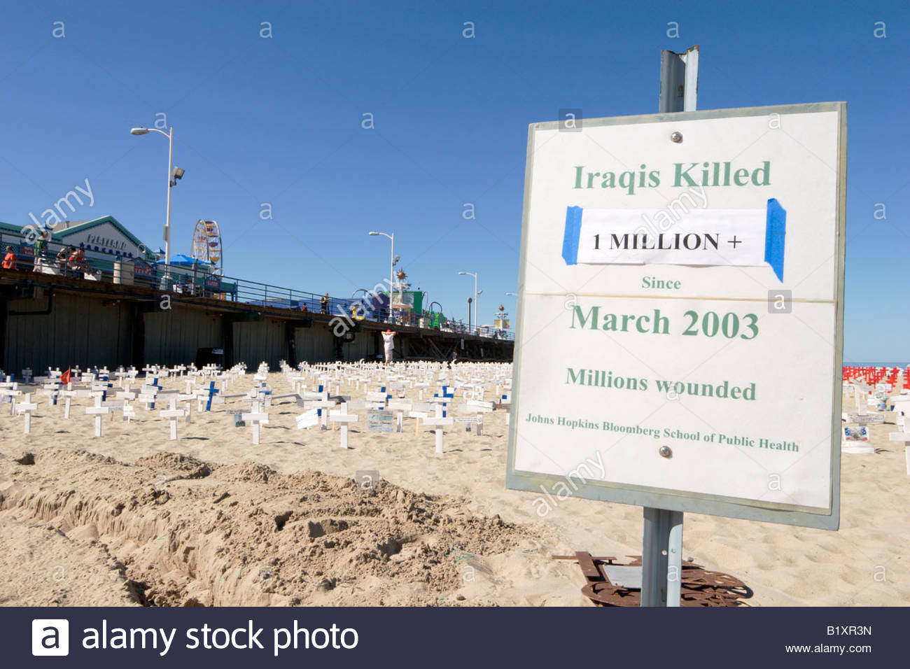 Tally of Iraqis Killed in Iraq War at Arlington West Memorial Santa Monica California - Stock Image