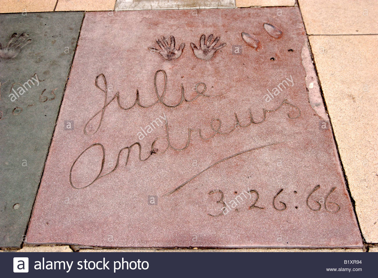 Julie Andrews aka Mary Poppins Handprint at Graumans Chinese Theatre Forecourt of Stars Hollywood California - Stock Image