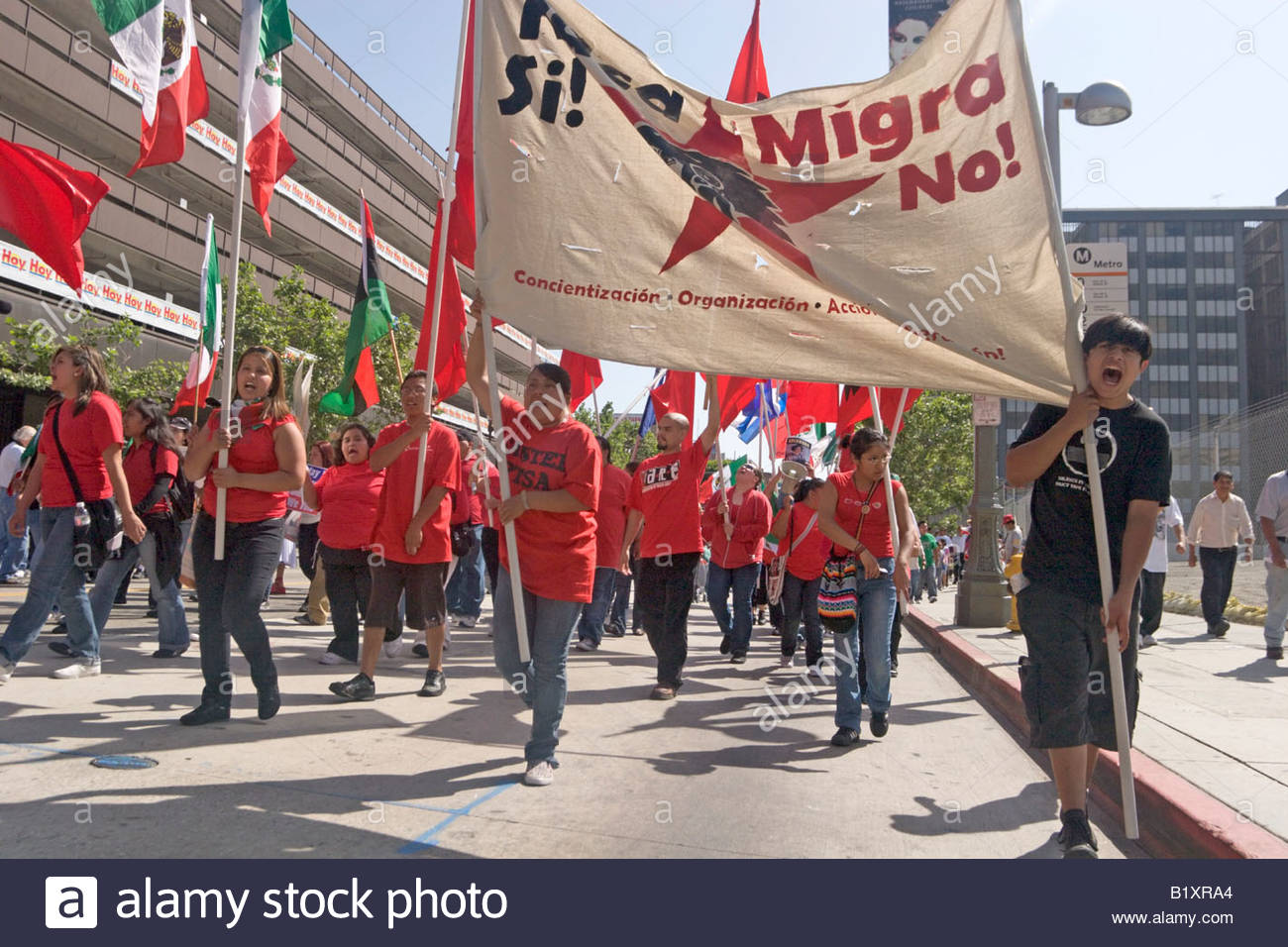 Young Adults Protesting Near The Los Angeles Times Building at 2008 May Day Illegal Immigration March Downtown Los - Stock Image