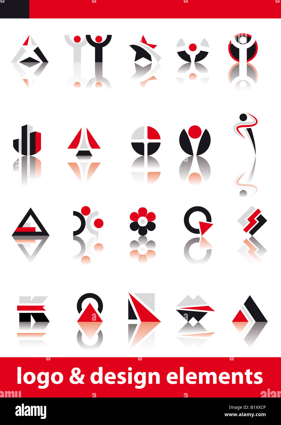 Abstract vector illustration of logo and design elements - Stock Image