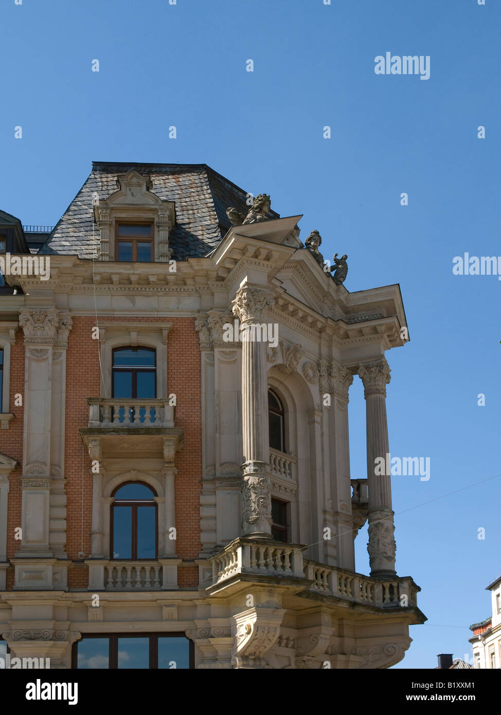 building house in the city in victorian architectural style in Bad Kissingen Bavaria Germany - Stock Image