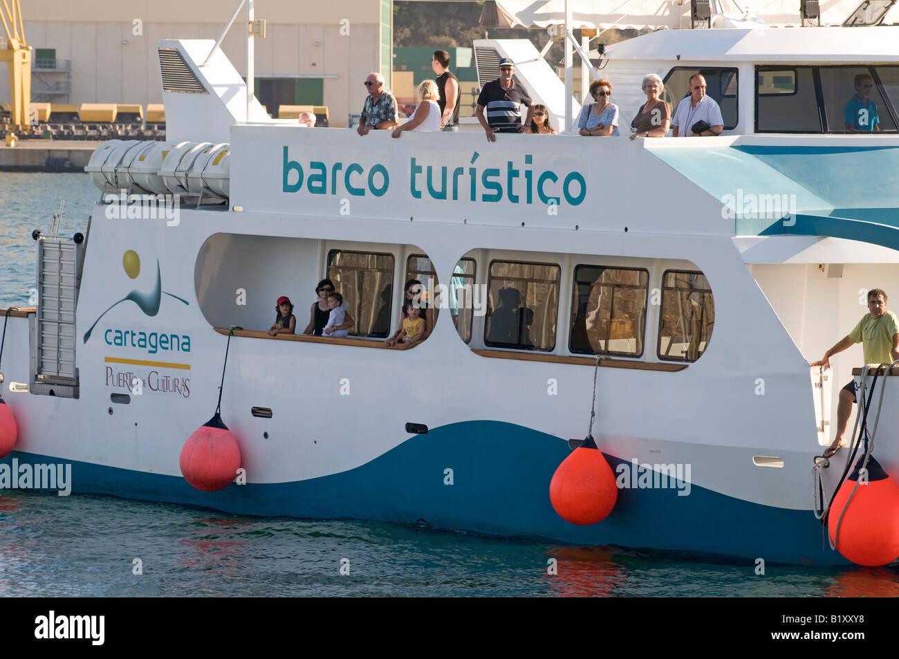 Tourist Boat (Barco Turistico) at Cartagena, Murcia, Spain Stock Photo