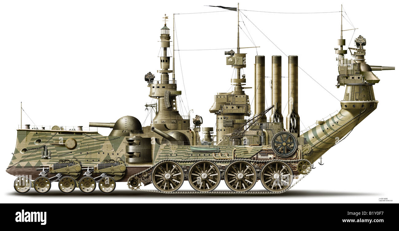 Amphibious Vehicle For Sale >> Concept illustration of a Victorianesque amphibious steam powered Stock Photo: 18418155 - Alamy