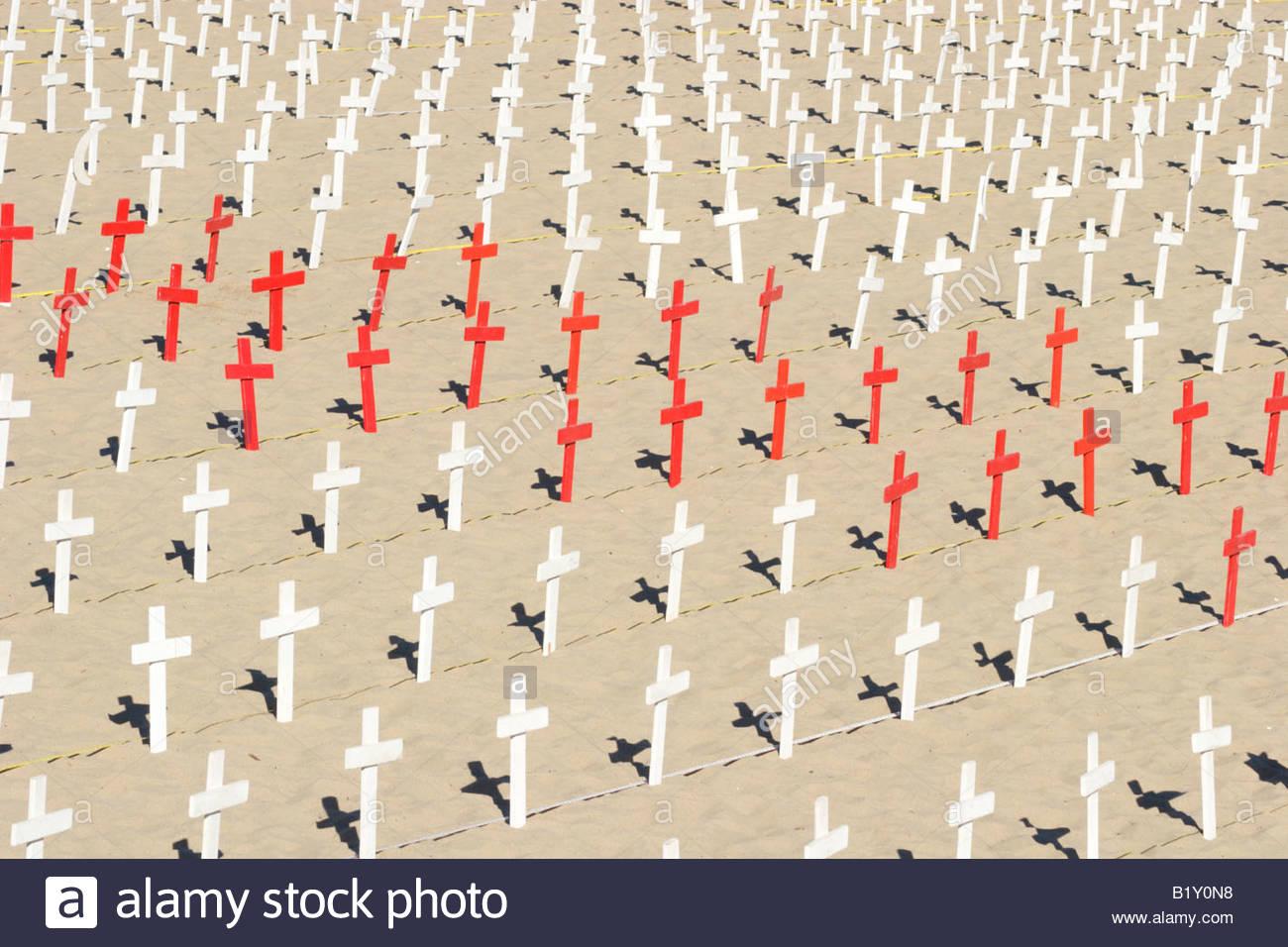 Arlington West Memorial Crosses Santa Monica California - Stock Image