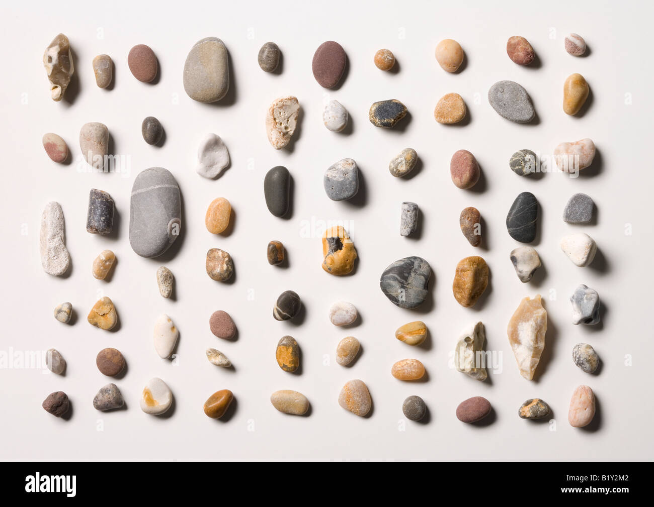 70 pebbles from a beach - Stock Image