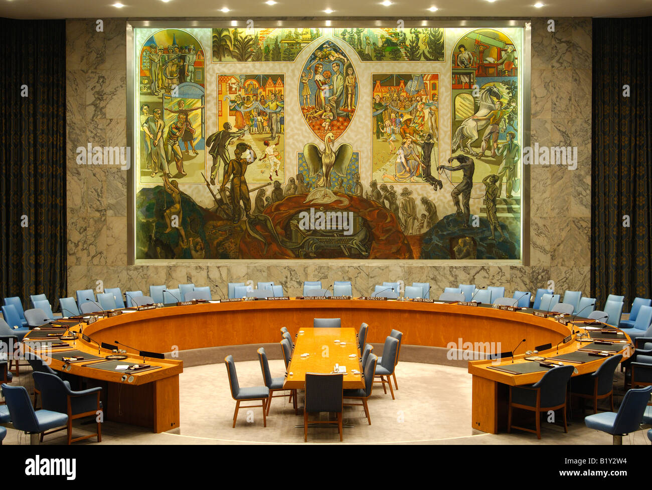 Security Council Chamber, United Nations, New York, USA Stock Photo