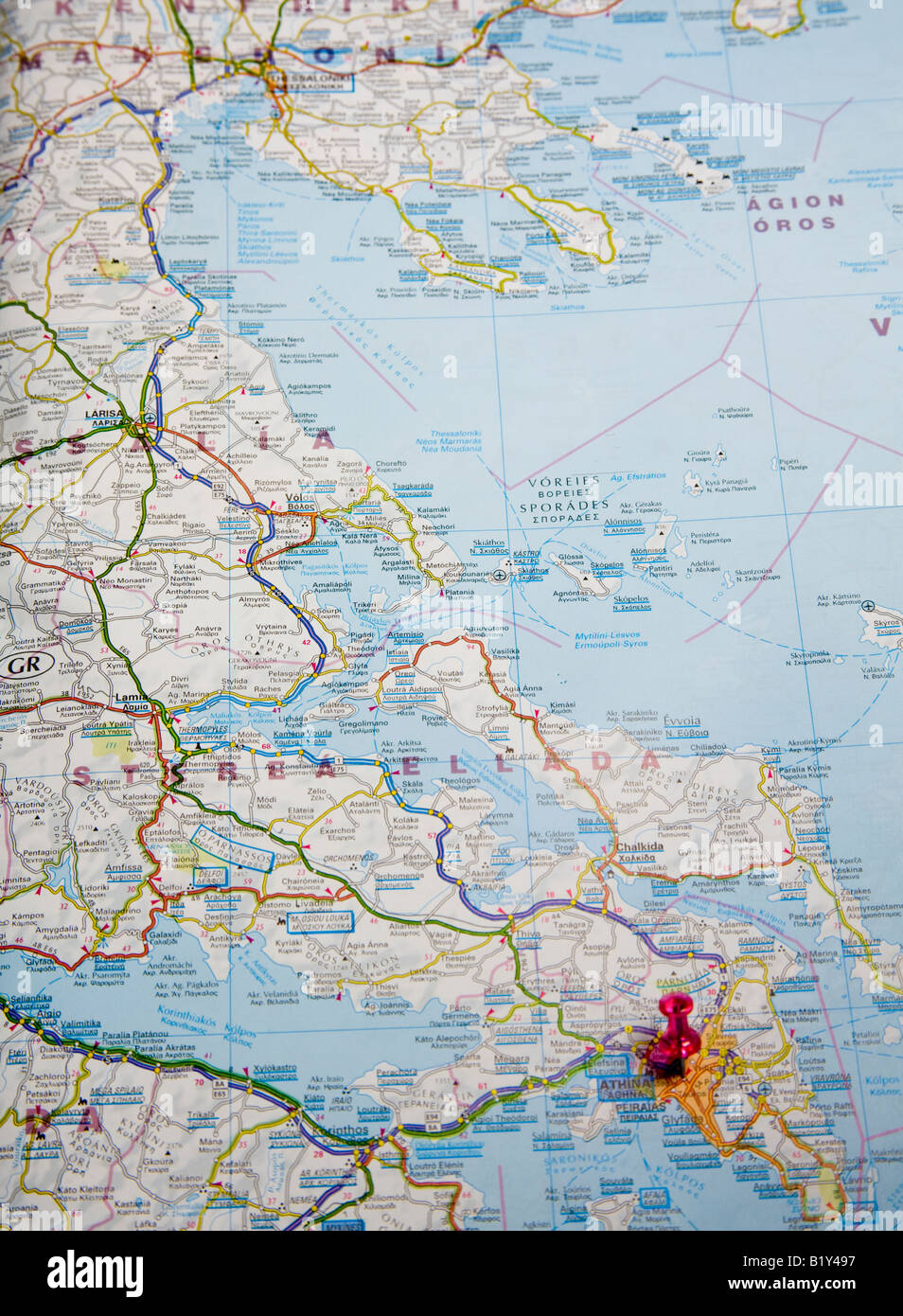 Road Map Of Athens Greece Europe Stock Photo 18421123 Alamy