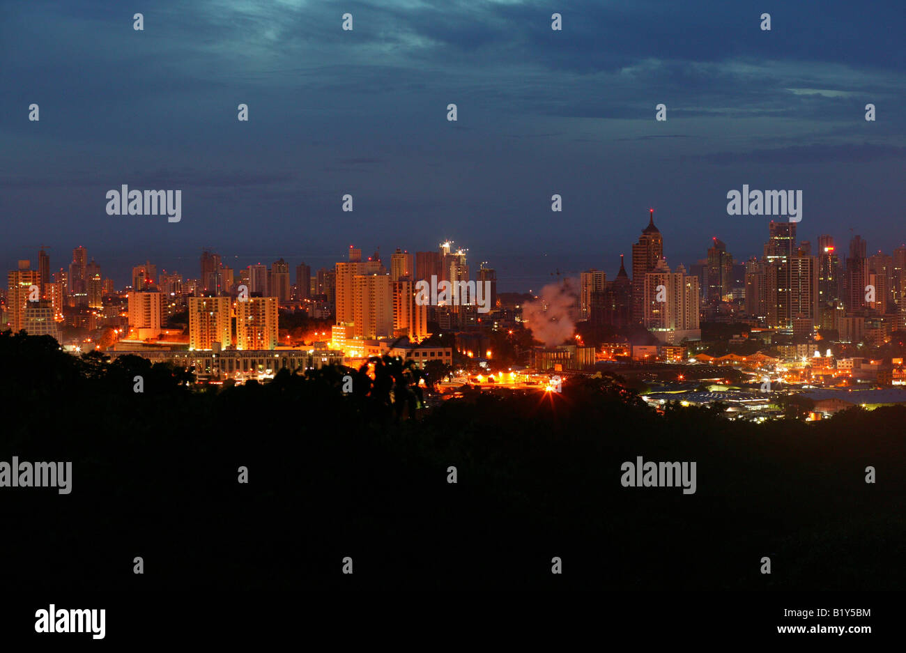 Panama city at night seen from the top of Metropolitan park, Panama province, Republic of Panama. November, 2007. - Stock Image