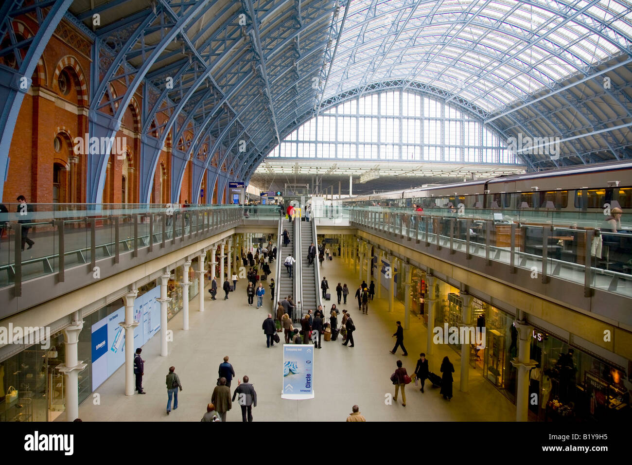 Interior of the rebuilt St Pancras Railway Station London England - Stock Image