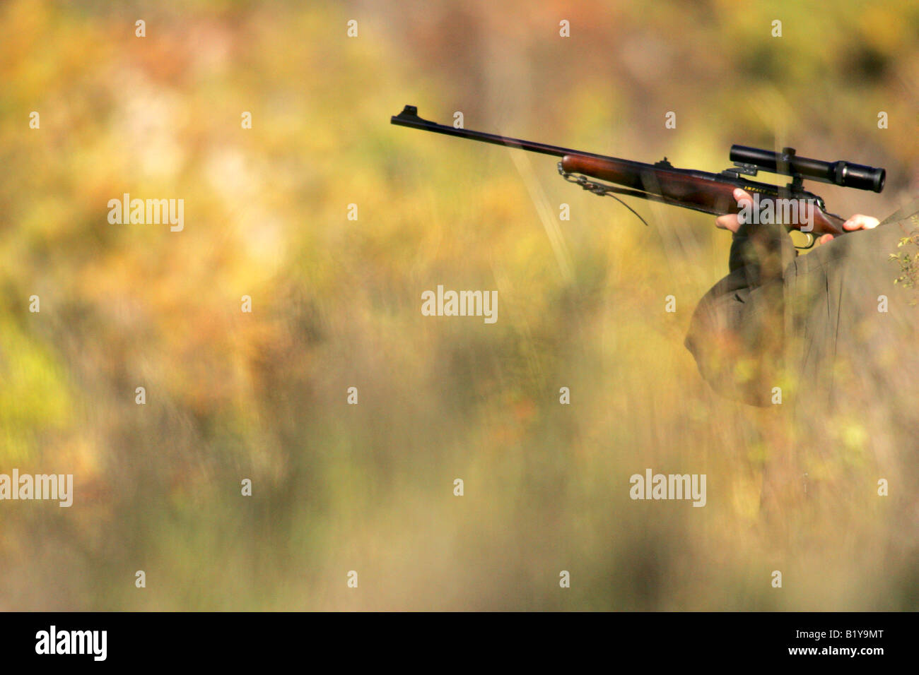 hunter with a gun - Stock Image