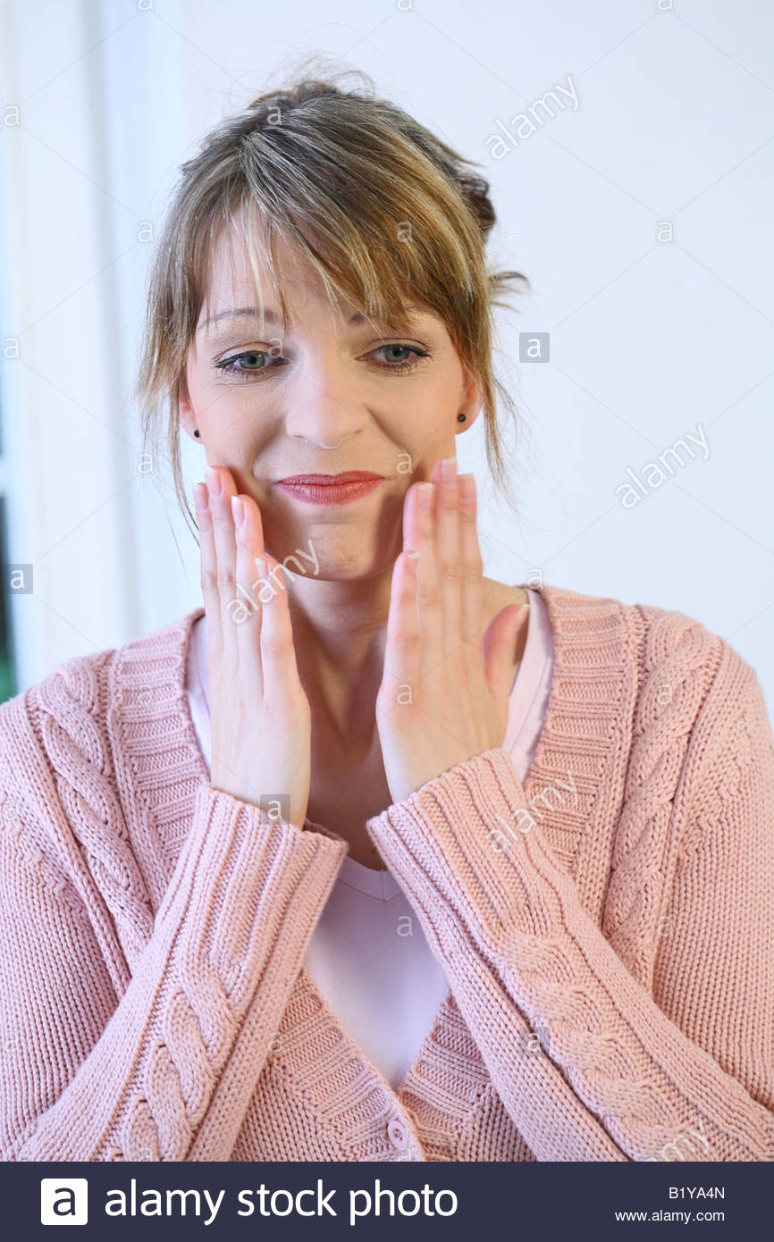 woman with problems gesturing with her hands - Stock Image