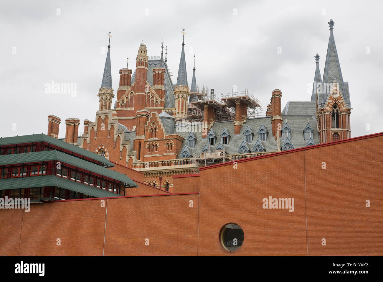 St Pancras Station from the British Library London England - Stock Image