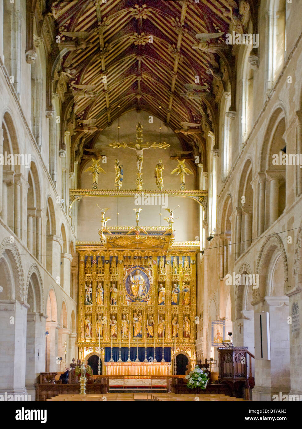 Interior view of Wymondham Abbey Norfolk England looking down the nave towards the altar - Stock Image