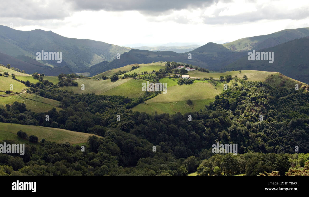 Panoramic view, Basque country, Pyrenees Atlantique Stock Photo