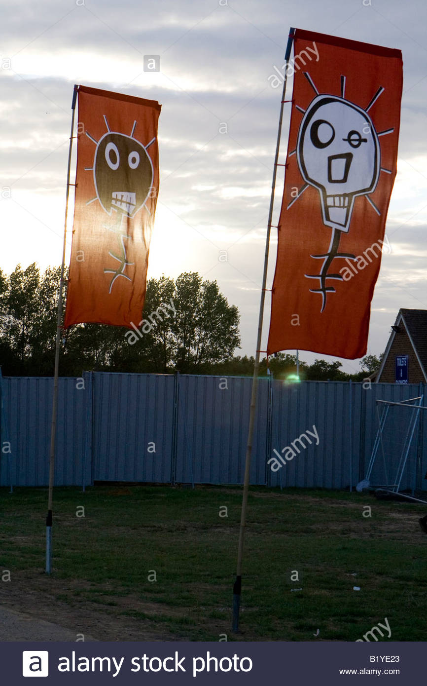 printed banners at the mighty boosh festival at the hop farm in kent england - Stock Image