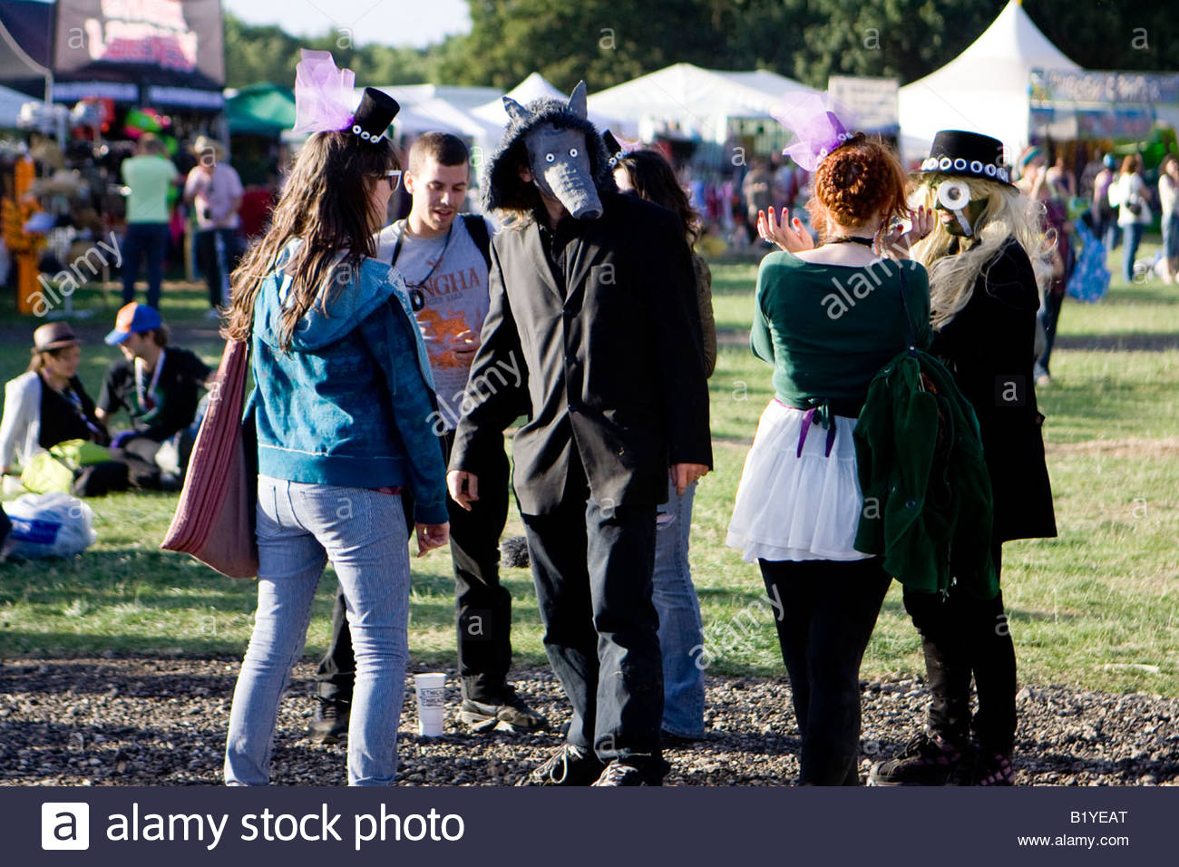 people in fancy dress at the mighty boosh festival at the hop farm in kent england - Stock Image