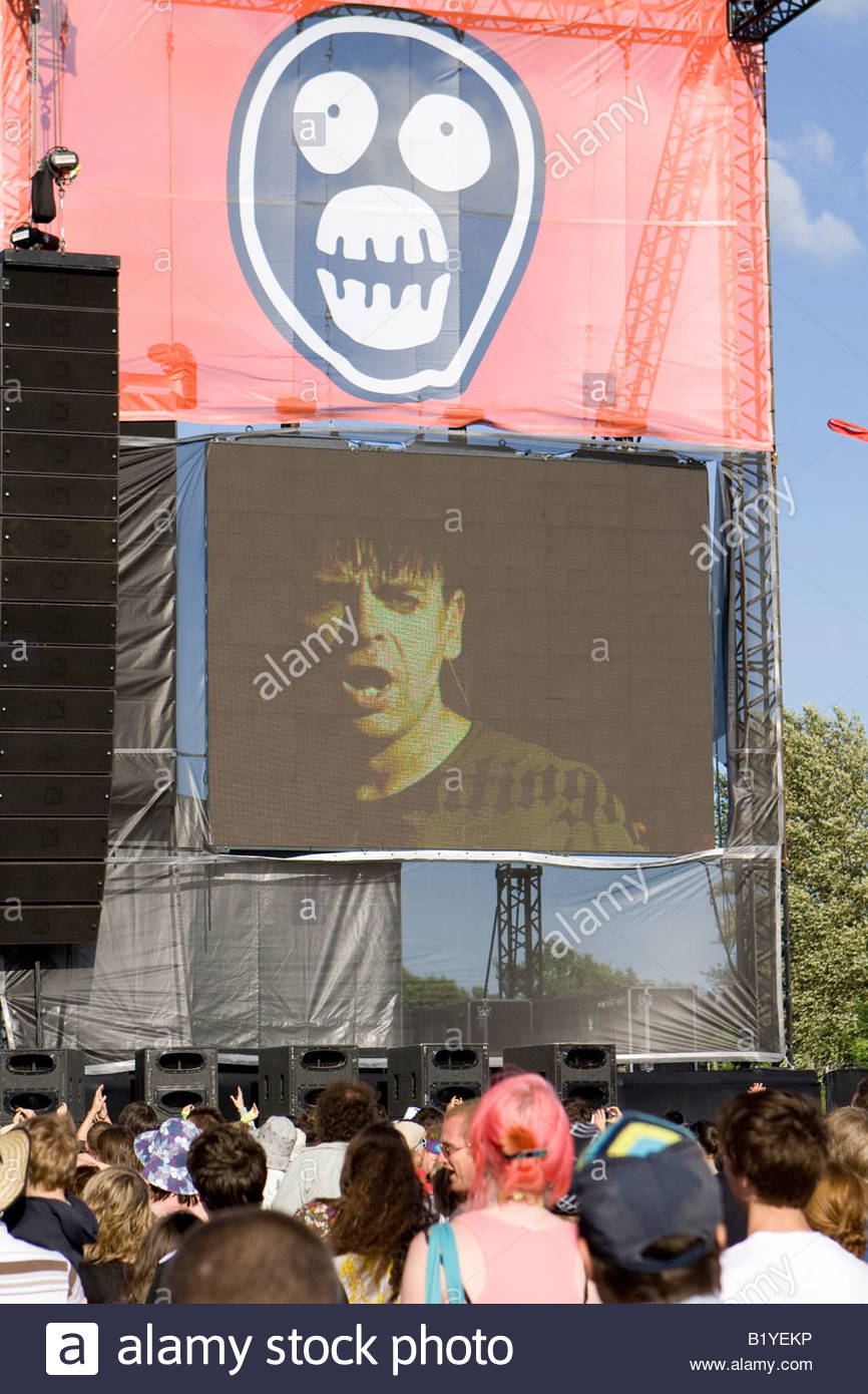 gary numan on the big screen at the mighty boosh festival at the hop farm in kent england - Stock Image