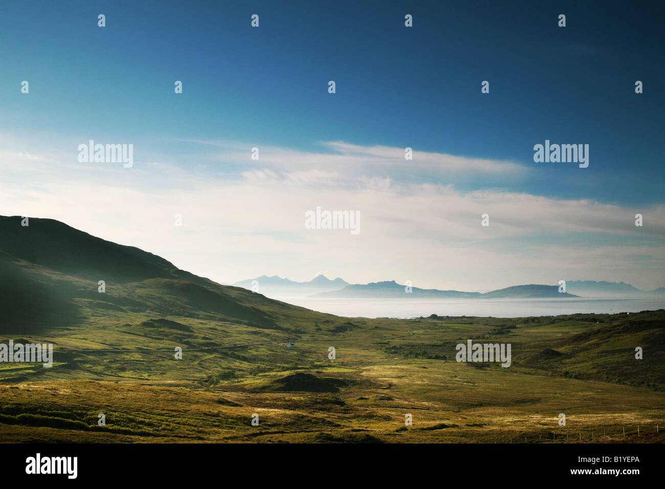 view looking across to the isles of Eigg and Rum - Stock Image