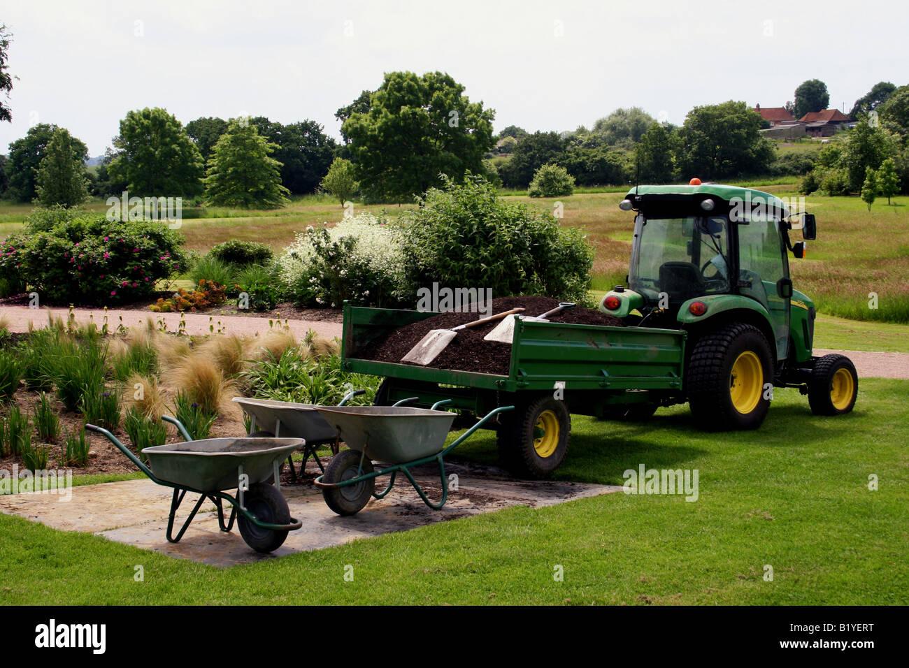 john deere 3720 garden tractor and trailer rhs hyde hall essex uk - Garden Tractor Trailer
