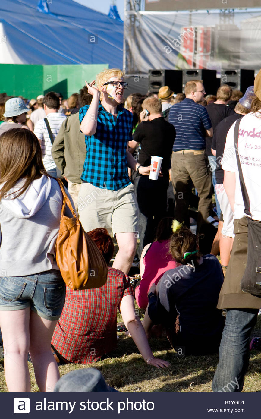 a man dancing at the mighty boosh festival at the hop farm in kent england - Stock Image
