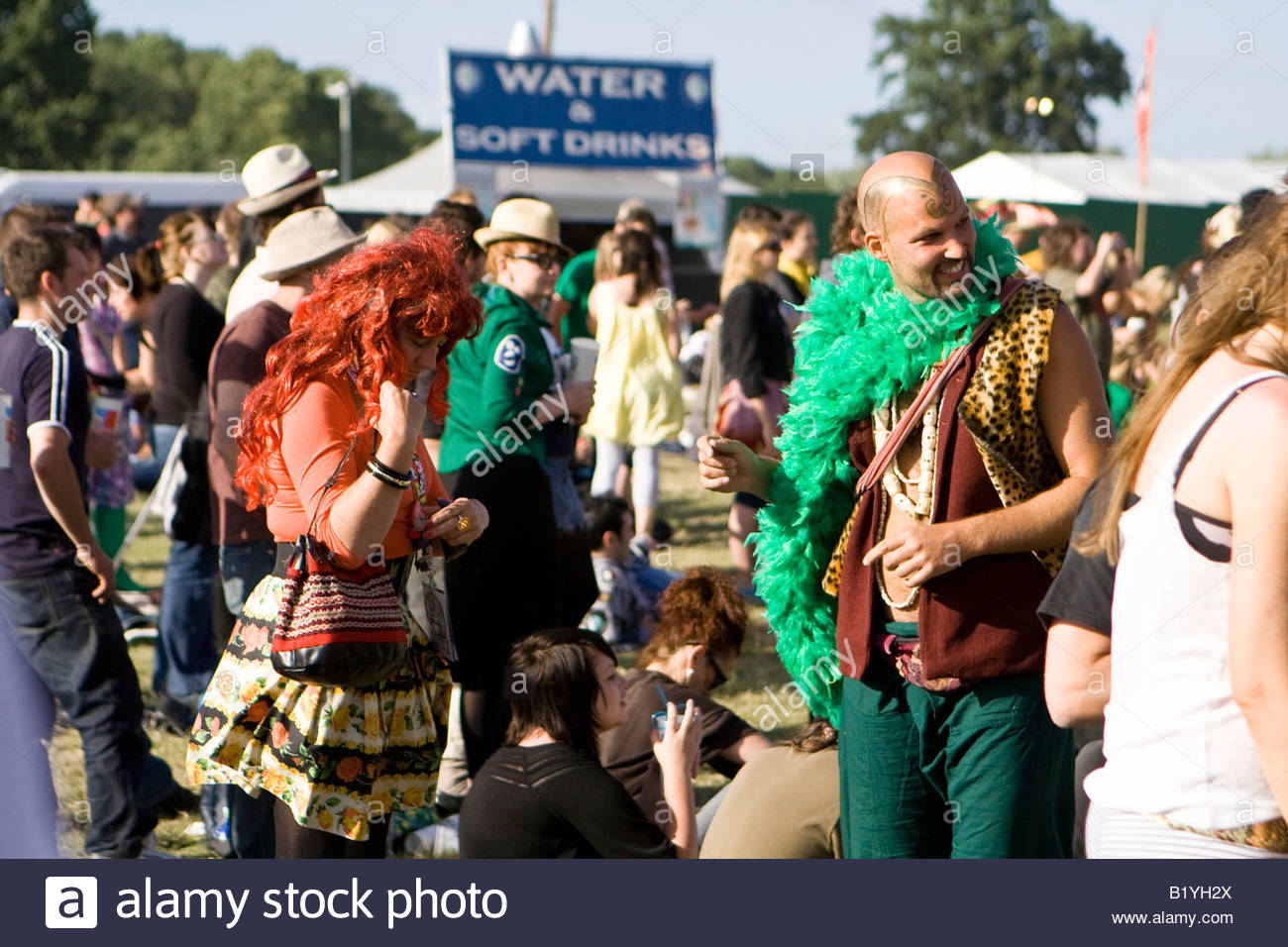 a couple in fancy dress at the mighty boosh festival at the hop farm in kent england - Stock Image