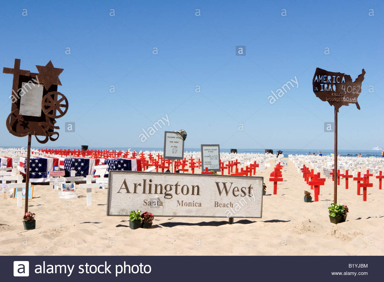 Arlington West Memorial Santa Monica California - Stock Image