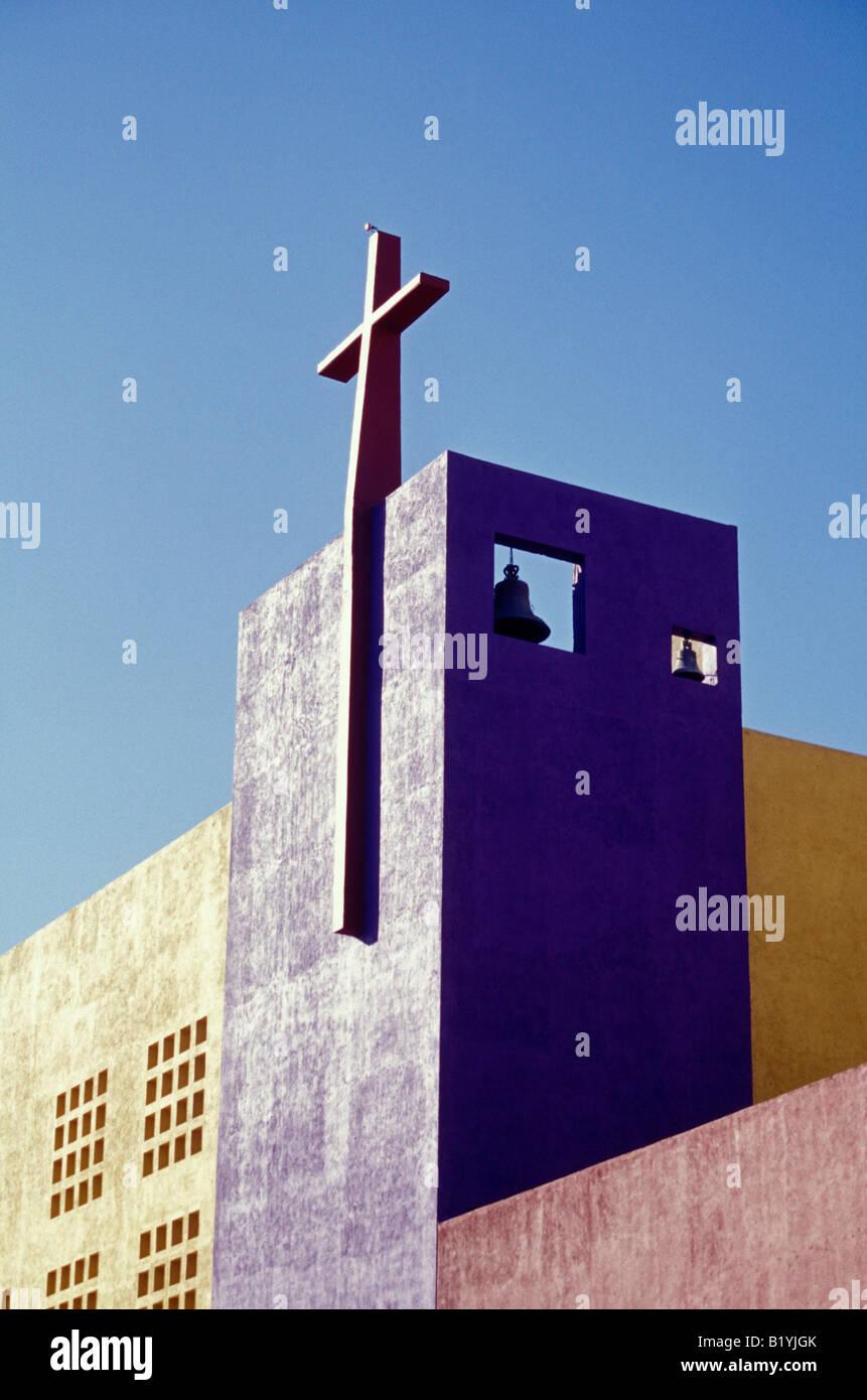 Modern church bell tower in the city of Tuxtla Gutierrez, Chiapas, Mexico - Stock Image